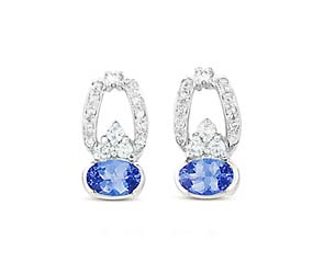 Hanging Tanzanite and Diamond Earrings