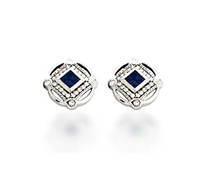 Designer Sapphire and Diamond Earrings