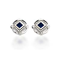 Designer Sapphire and Diamond Earrings 1.5 Carat Total Weight