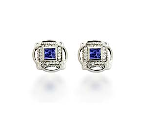 Designer Tanzanite and Diamond Earrings