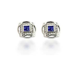 Designer Tanzanite and Diamond Earrings