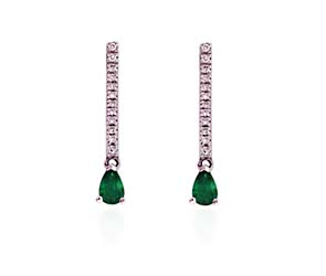 Pear Shape Emerald & Diamond Drop Earrings