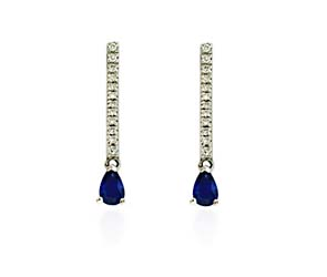 Pear Shape Sapphire & Diamond Drop Earrings