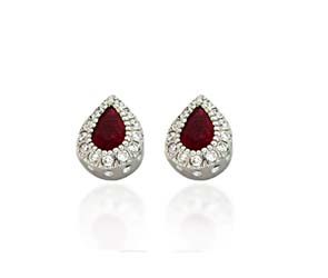 Ruby and Diamond Tear Drop Earrings 1.14 Carat Total Weight