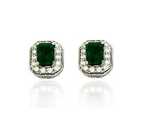 Emerald Cut Emerald and Diamond Earrings