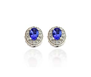 Diamond Accented Tanzanite Earrings