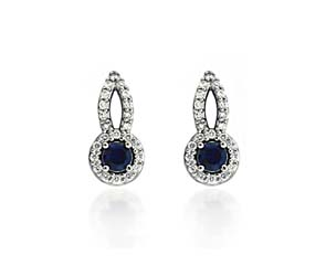 Designer Blue Sapphire and Diamond Earrings