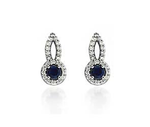 Designer Blue Sapphire and Diamond Earrings