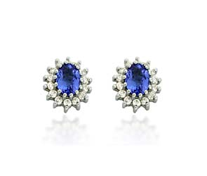 Tanzanite Diamond Accented Flower Earrings