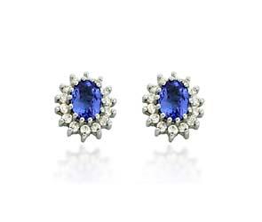 Tanzanite Diamond Accented Flower Earrings