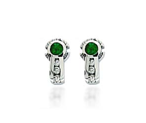 Emerald & Diamond Wrap Earrings 1.5 Carat Total Weight