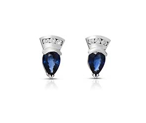 Pear Shape Blue Sapphire and Diamond Earrings