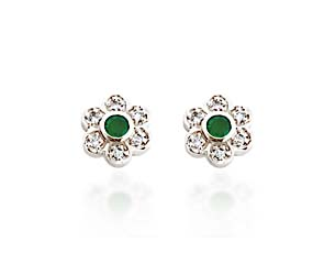 Center Emerald and Diamond Earrings