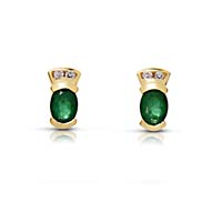 Emerald and Diamond Earrings 1.6 Carat Total Weight