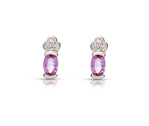 Pink Sapphire and Diamond Cluster Earrings