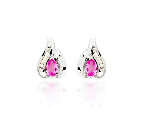 Pink Sapphire Pear Cut Diamond Earrings