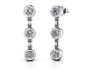 Six Stone Diamond Drop Earrings