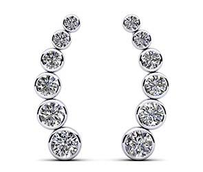 Bezel Set Diamond Journey Earrings