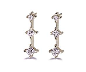 Princess Cut 3-Stone Earrings