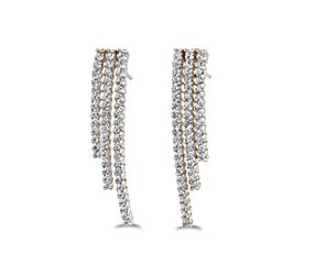 Triple Strand Diamond Earrings