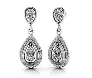 Tear Drop Diamond Drop Earrings