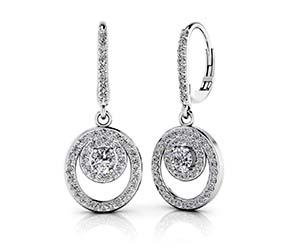 Diamond Circle Pendant Shephard Hook Earrings