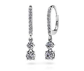 Double Drop Diamond Hoop Earrings