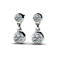 Diamond Dangle Earrings 3/4 Carat Total Weight
