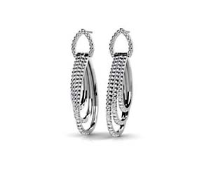 Hanging Diamond Hoop Earrings