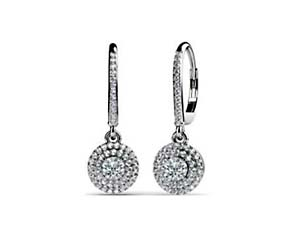 Designer Diamond Cluster Lever Back Earrings