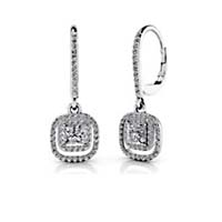 Hanging Princess Cut Designer Leverback Earrings 1.06 Carat Total Weight