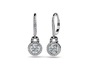 Designer Diamond Hanging Hinged Lever Back Earrings