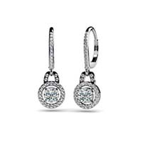 Designer Diamond Hanging Hinged Lever Back Earrings 1.5 Carat Total Weight