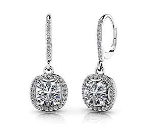 Ravishing Cushion Cut Diamond Drop Earrings