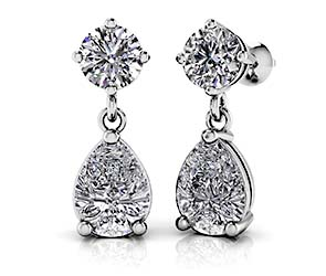 Alluring Round And Pear Shaped Drop Earrings