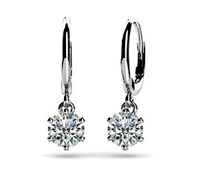 Six Prong Solitaire Diamond Drop Earrings
