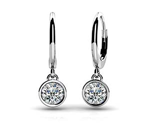 Bezel Set Diamond Drop Earrings