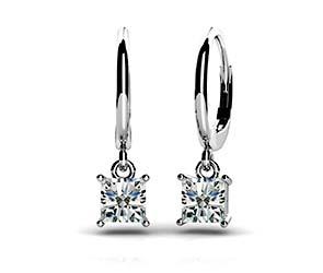 Four Prong Princess Cut Diamond Drop Earrings