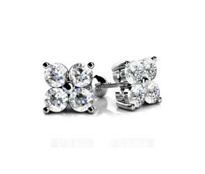 4 Stone Cluster Diamond Stud Earrings