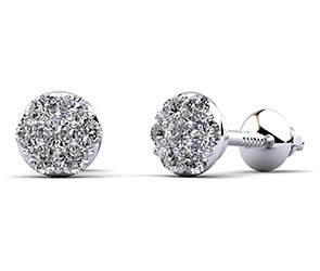 Alluring Diamond Cluster Stud Earrings