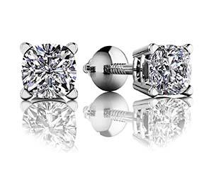 Cushion Cut Diamond Stud Earrings