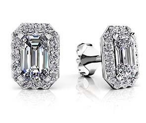 Finishing Touch Diamond Emerald Cut Halo Earrings
