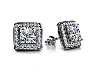 Milgrain Princess Cut Diamond Stud Earrings