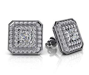 Square Shaped Princess Cut and Round Diamond Stud Earrings