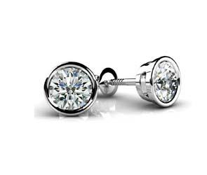 Round Bezel  Diamond Stud Earrings