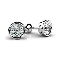 Round Bezel Diamond Stud Earrings 3/4 Carat Total Weight
