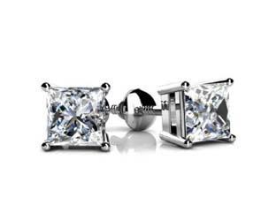 4 Prong Basket Style Princess Cut Diamond Stud Earrings