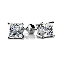 4 Prong Basket Style Princess Cut Diamond Stud Earrings 3/4 Carat Total Weight