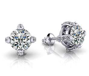 Royal Four Prong Diamond Stud Earrings