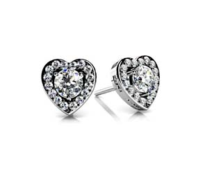 Diamond Heart Designer Stud Earrings